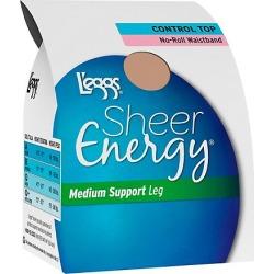 Leggs Sheer Energy Waistband Free Control Top, Toe Pantyhose 4-Pack Suntan A