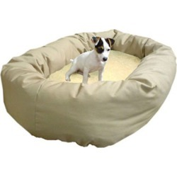 Majestic Pet Sherpa Bagel Dog Bed LG Khaki