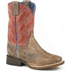 Roper Little Kids Chevron SQ Toe Boots 2  Blue Red found on Bargain Bro India from Horse.com for $90.99