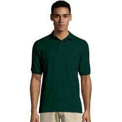 Hanes Men's Cotton-Blend EcoSmart Jersey Polo with Pocket Deep Forest S found on Bargain Bro Philippines from Hanes Underwear for $7.00