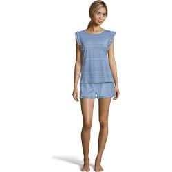 One Hanes Place Muk Luks Boho Shorts Set Blue Geo M