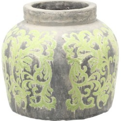 "David Tutara Home 13-1/2""D x 13""H Terracotta Jar - Green Green"