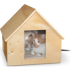 """K & H Birchwood Manor Thermo-Kitty Home (Heated) Natural Wood 18"""" X 16"""" X 15"""" 25W"""