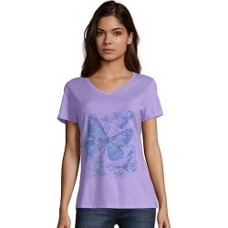Hanes Women's Big Butterfly Short-Sleeve V-Neck Graphic Tee Impression/Salty Purple 2XL