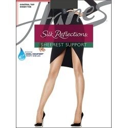 Hanes Silk Reflections Sheerest Support Control Top Sheer Toe Barely Black AB