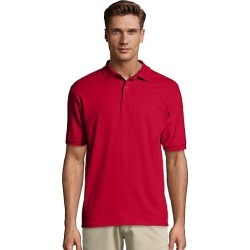 Hanes Men's Cotton-Blend EcoSmart Jersey Polo Deep Red XL found on Bargain Bro Philippines from Hanes Underwear for $7.00