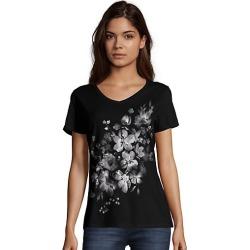 Hanes Women's Bleach Floral Cascade Short-Sleeve V-Neck Graphic Tee Beach Cascade/Black 2XL