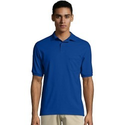 Hanes Men's Cotton-Blend EcoSmart Jersey Polo with Pocket Deep Royal S found on Bargain Bro Philippines from Hanes Underwear for $7.00
