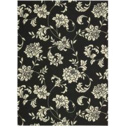 Home & Garden Elegant Floral Black Rugs