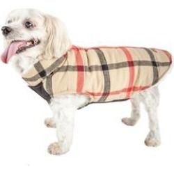 Pet Life Allegiance Plaid Dog Coat XSmall White