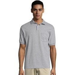 Hanes Men's Cotton-Blend EcoSmart Jersey Polo with Pocket Light Steel L found on Bargain Bro Philippines from Hanes Underwear for $7.00