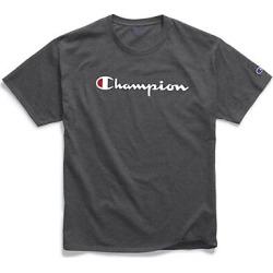 Champion Men's Classic Jersey Tee, Script Logo Granite Heather 2XL