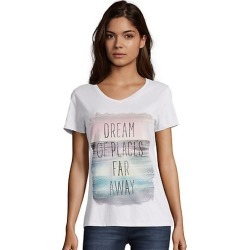 Hanes Women's Dream of Places Far Away Short-Sleeve V-Neck Graphic Tee Away/White 2XL