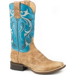 Roper Ladies Swirl Sq Toe Boots 11 B Turquoise found on Bargain Bro India from Horse.com for $155.99