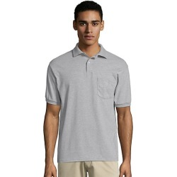 Hanes Men's Cotton-Blend EcoSmart Jersey Polo with Pocket Ash S found on Bargain Bro Philippines from Hanes Underwear for $7.00
