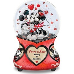 Disney Mickey Mouse and Minnie Mouse Glitter Globe Personalized with Your Names found on MODAPINS from Bradford Exchange for USD $79.99