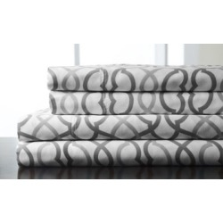 Sorelli 100% Cotton Printed Sheet Sets and Duvet Cover Sets Collection Gray, Twin