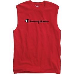 Champion Men's Classic Jersey Muscle Tee, Script Logo Scarlet S