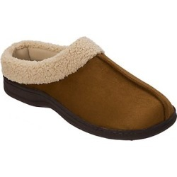 Dearfoams Men's Dearfoam Suede Clog with Faux Shearling Cuff Chestnut S found on Bargain Bro India from Hanes Underwear for $12.99