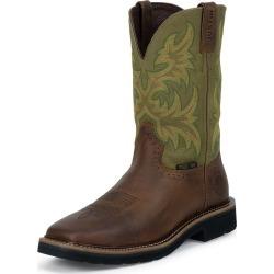 Justin Mens Stampede Steel Green Work Boots 6.5D