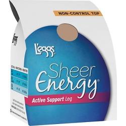 Leggs Sheer Energy Active Support Regular, Reinforced Toe Pantyhose 4-Pack Suntan A
