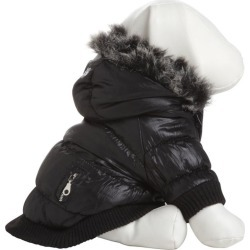 Pet Life Metallic Black Parka Dog Coat LG