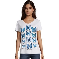 Hanes Women's Butterfly Collection Short-Sleeve V-Neck Graphic Tee Collection/White 2XL