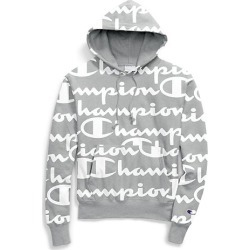 d8e17aa29 Champion Life Men's Reverse Weave Pullover Hood, All-over Logo Giant Script  Oxford Grey