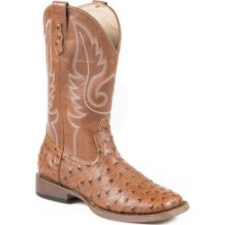 Roper Mens Sq Toe Faux Ostrich Tan Boots 12 found on Bargain Bro India from Horse.com for $90.99