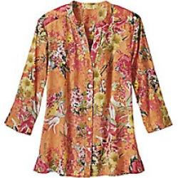 Women's Plus Size Button Front Cotton Voile Floral Shirt, Peach, Size 2XL