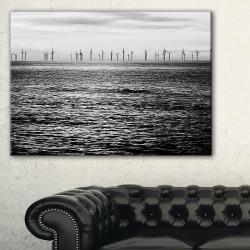Turbines Black And White LandscapeArtwork Canvas