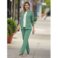 Plus Size Womens 2-Pc. Fleece Set with Zip Front Jacket, Earth Green, Size 2XL