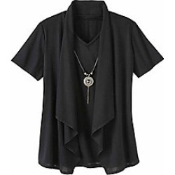 Women's Plus Size 2-In-1 Top with Necklace, Black, Size XL