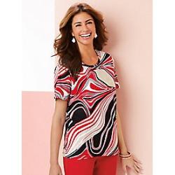 Women's Plus Size Swirl Top, Black/White, Size 2XL