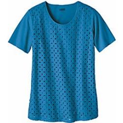 Women's Plus Size Eyelet Front Knit Top, Ocean, Size 2XL