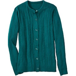 Plus Size Womens Classic Cable Cardigan, Jewel, Size 3XL