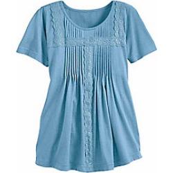 Women's Plus Size Pintucks & Lace Top, Powder Blue, Size 2XL