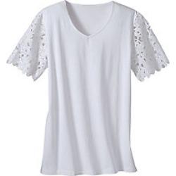 Women's Plus Size Crochet Sleeve Top, White, Size 2XL