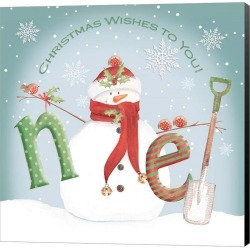 Snowman Noel Canvas Wall Art title=