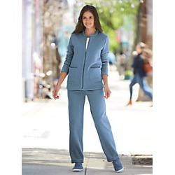 Plus Size Womens 2-Pc. Fleece Set with Zip Front Jacket, Blue Denim, Size 2XL