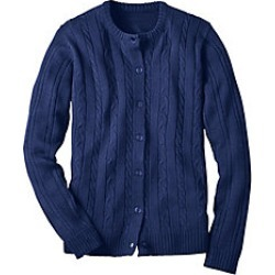 Plus Size Womens Classic Cable Cardigan, Navy, Size 2XL