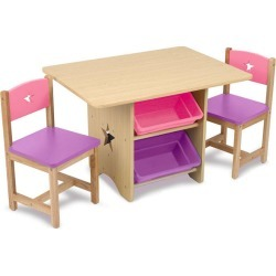 KidKraft Table and Chairs - White with Pastel Colors