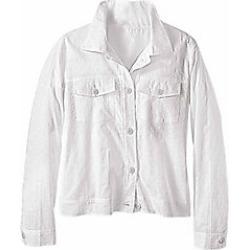 Women's Plus Size Eyelet Cotton Jacket, White, Size 2XL