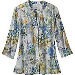 Women's Plus Size Button Front Cotton Voile Floral Shirt, White, Size 2XL