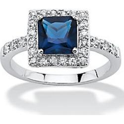 Princess-Cut Birthstone Square Halo Ring
