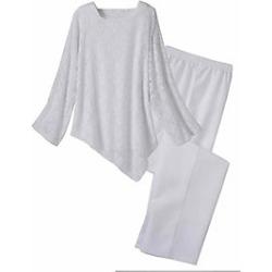 Women's Salon Studio Angels Above 3-Pc. Pant Set, White, Size 2XL