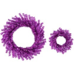 2 Sparkling Purple Artificial Christmas Wreaths