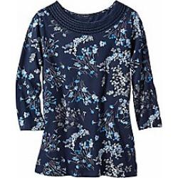 Women's Crochet Neckline Printed Knit Tee, Navy Print, Size M