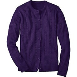 Plus Size Womens Classic Cable Cardigan, Eggplant, Size 2XL