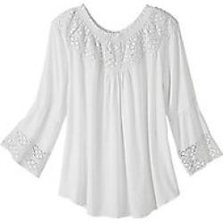 Women's Plus Size Crochet Trim Top with Allover Dot Texture, White, Size 2XL